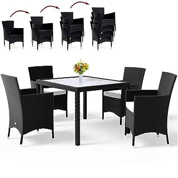 Wunderbar Deuba Poly Rattan Sitzgruppe 4+1 Schwarz | 4 Stapelbare Stühle | 7cm Dicke  Sitzauflagen
