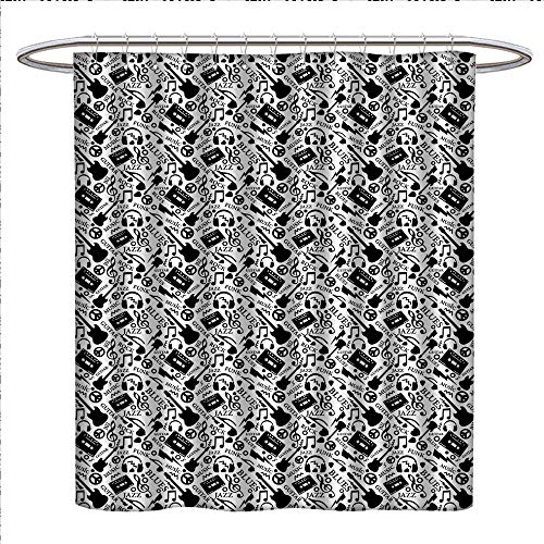 Anhounine Music Shower Curtain Collection by Blues Jazz Punk Rock Various Type of Folk Indie Rap Reggae Peace Sign Sing Artwork Patterned Shower Curtain W36 x L72 Black White (Lauren Collection Conrad)
