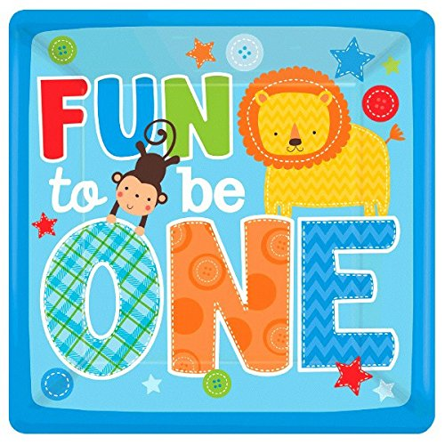 One Wild Boy Birthday Party Square Dinner Plates Tableware, 8 Pieces, Made from Paper, Multi-colored, 10