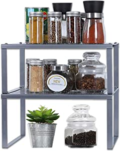 NEX Kitchen Shelf Organizer for Cabinet Counter Cupboard Pantry, Stackable & Expandable