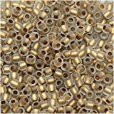 Toho Round Seed Beads 11/0 #989F - Frosted Gold-Lined Crystal (8 Grams)