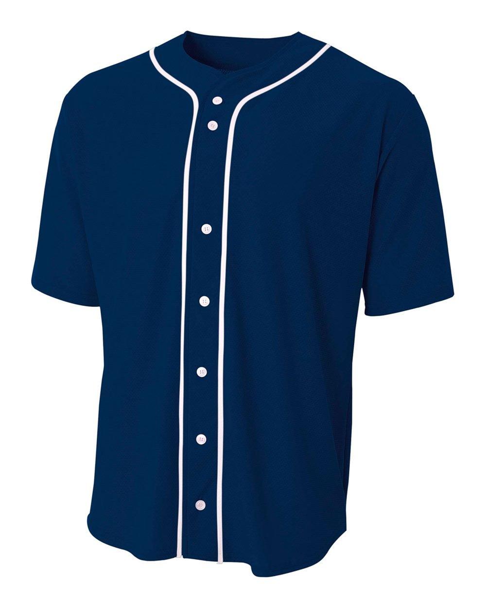 野球フルボタンカスタムまたは空白Wicking Jersey ( 8 Uniform色で子供大人用シャツサイズ10 ) B01MG20HOH 4L|Navy Blue (Blank) Navy Blue (Blank) 4L