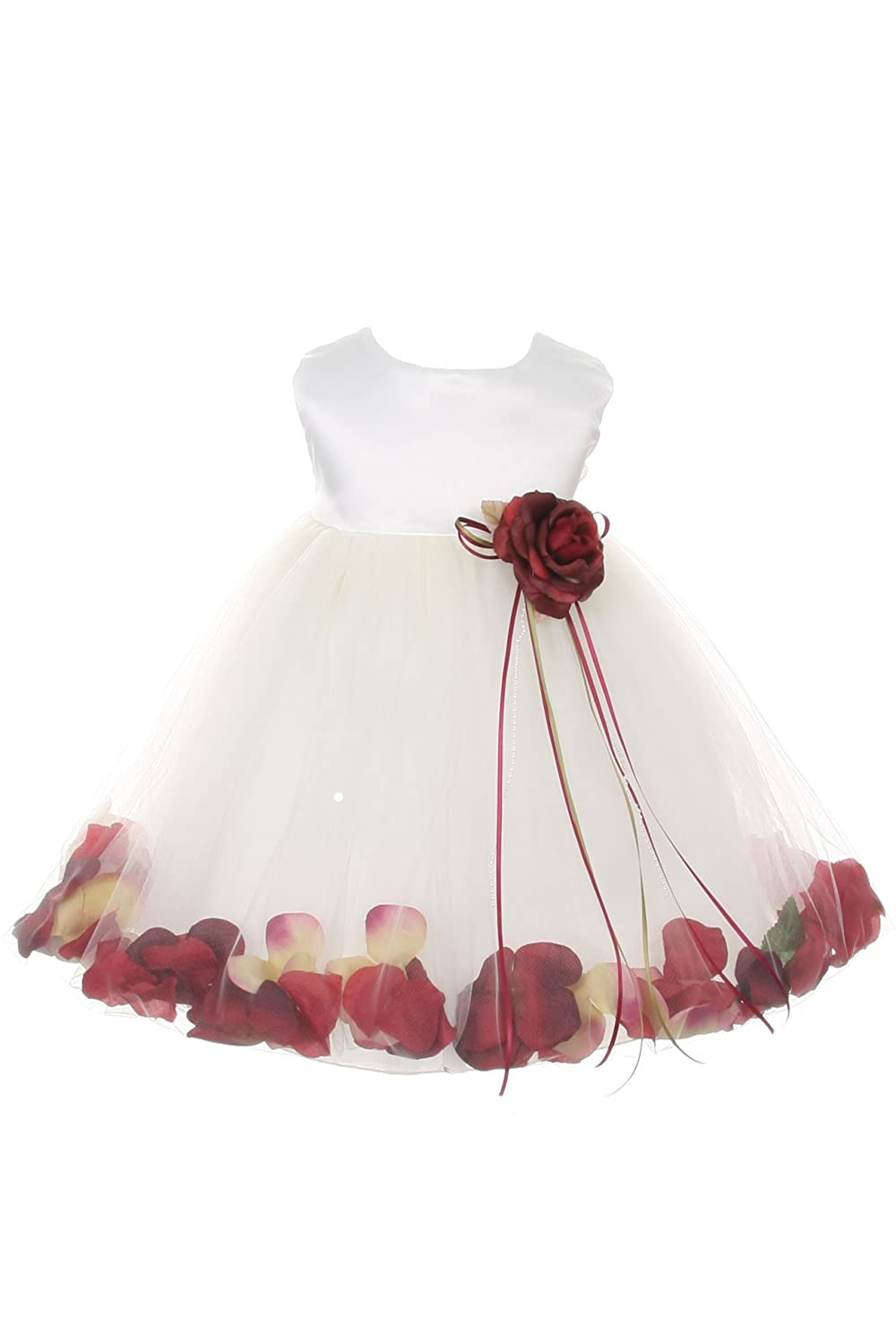 14c3d2a08a7 Amazon.com  23 Colors Satin Bodice Flower Baby Girl Pageant Petal Dress   Infant S-XL  Clothing