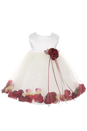 2d8df5a1b9 Satin Bodice Flower Baby Girl Pageant Petal Dress  Ivory Burgundy - Infant S