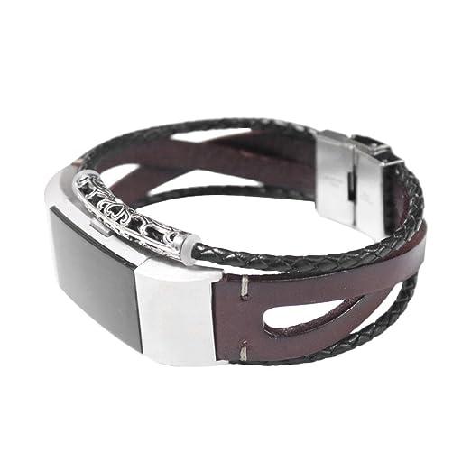 Fitbit Charge 2 Pulsera, Lanskirt Correa de Reloj Inteligente de Moda Reemplazo de Pulsera de Cuero Correas de Repuesto Banda de Impermeable Exquisito para ...