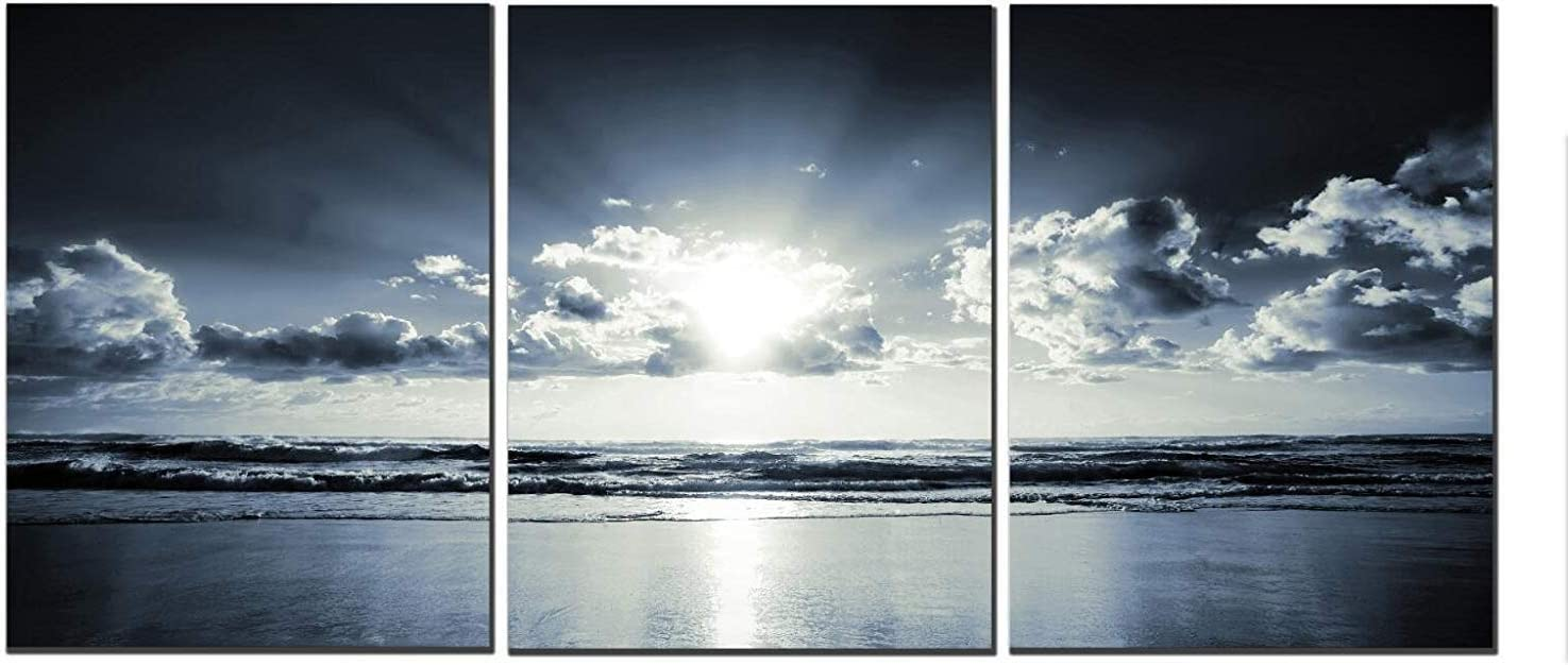 The Black White Dark Blue Sea Sunset Canvas Wall Art Landscape Canvas Prints for Home Decorations Ready to Hang Set of 3 Panels