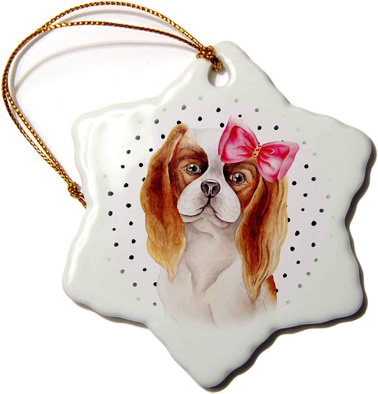 3dRose Cute Funny Dog Illustration on Polkadots- Bishon-Spaniel - Ornaments (ORN_275109_1)