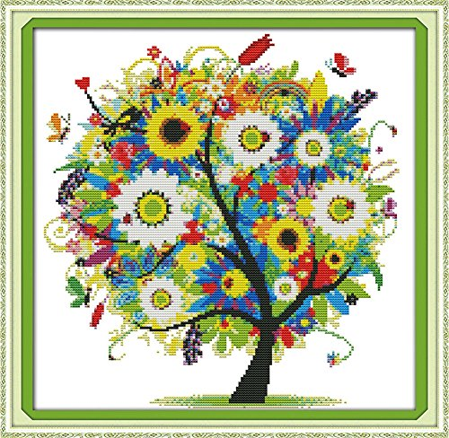 Benway Counted Cross Stitch Kit Colorful Lucky Tree Flowers