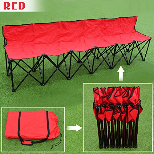 (Strong Camel Portable 6 Seater Team Sports Sideline Bench Sits Outdoor Waterproof Folding Foldable (Red))