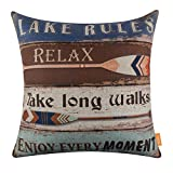 LINKWELL 18x18 inches Vintage Wood Slat Design Lake Rules Burlap Pillow Cover Throw Cushion Cover (CC1278)
