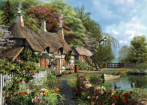 Ravensburger Cottage On A Lake Large Format 300 Piece Jigsaw Puzzle for Adults - Every Piece is Unique, Softclick Technology Means Pieces Fit Together - Lane Car Memory