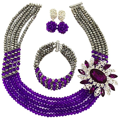 laanc Womens Girls Necklace Bracelet 5 Rows Gold AB and Colorful Crystal Beads African Jewelry Sets (Silver Purple)