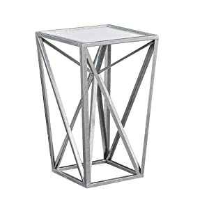 Madison Park MP120-0220 Zee Accent Tables For Living Room, Glass Top Hollow, Small Metal Frame Geometric Angular Design Luxe Modern Stylish Nightstand Bedroom Furniture, Silver