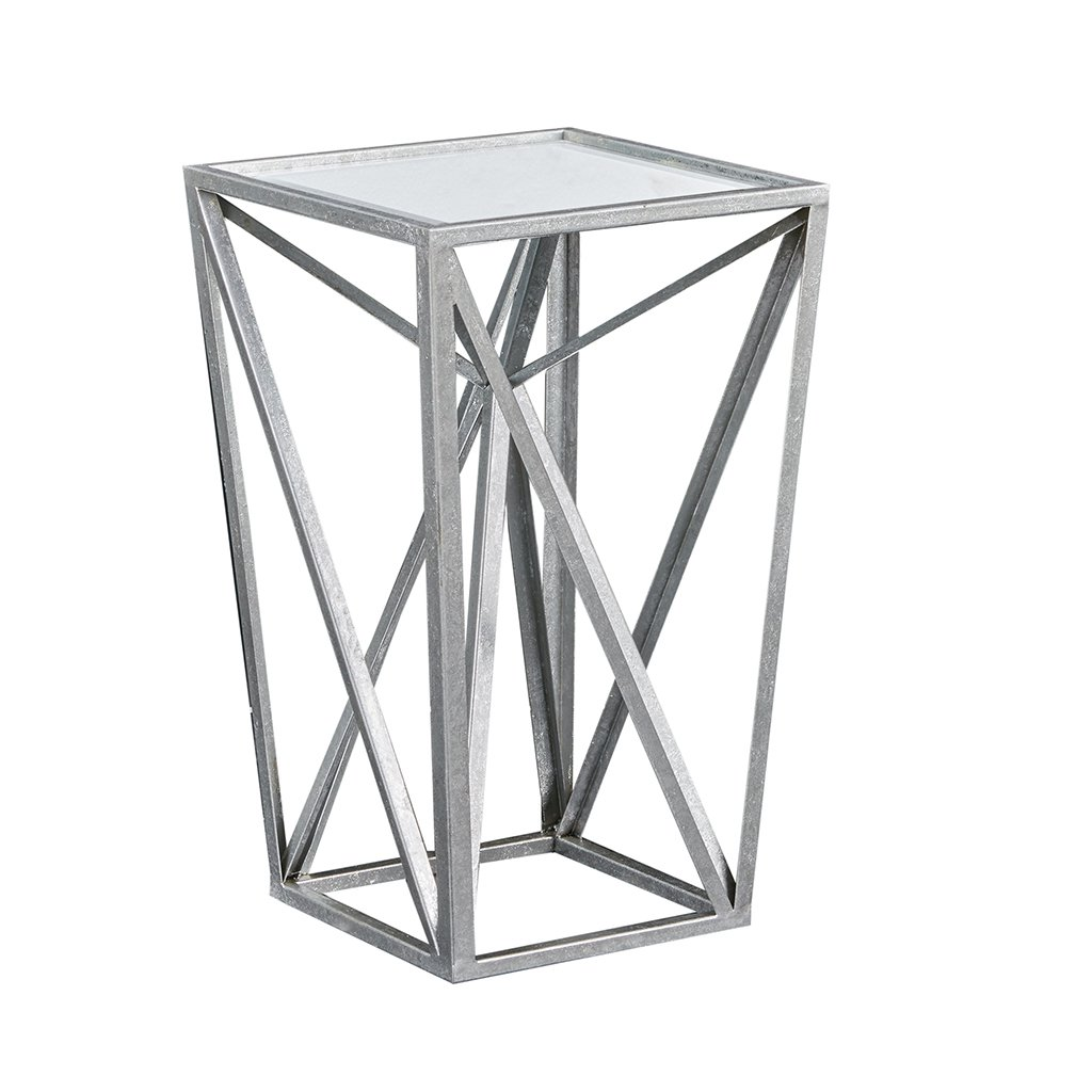Madison Park Zee Silver Angular Mirror Accent Table Silver/Mirror See Below