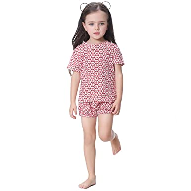 25405bab1 Flofallzique Little Girls Pyjama Cotton Summer Red Floral Pattern ...