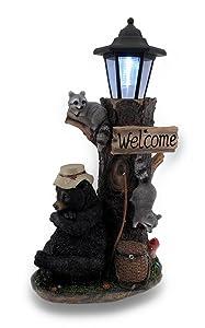 Zeckos Lazy Days of Summer Black Bear and Friends LED Solar Lantern Welcome Sign