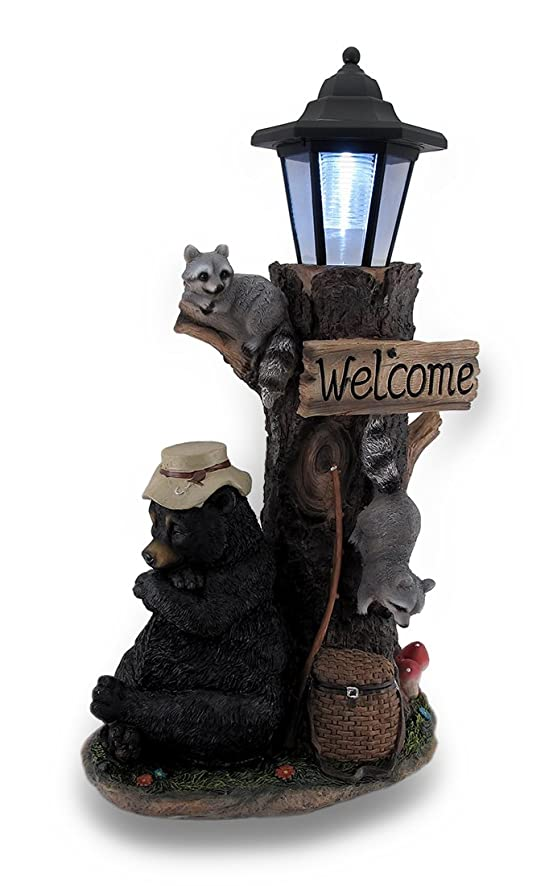 Lazy Days of Summer Black Bear and Friends LED Solar Lantern Welcome Sign