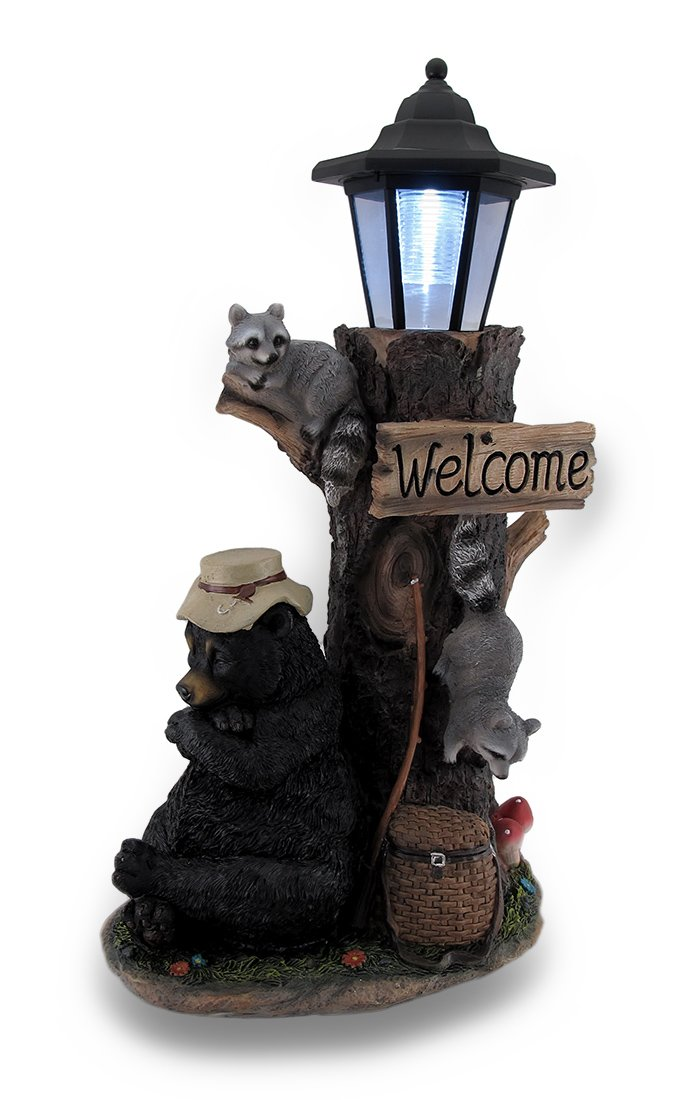 Zeckos Resin Outdoor Figurine Lights Lazy Days Of Summer Black Bear And Friends Led Solar Lantern Welcome Sign 9.5 X 18 X 6.5 Inches Multicolored