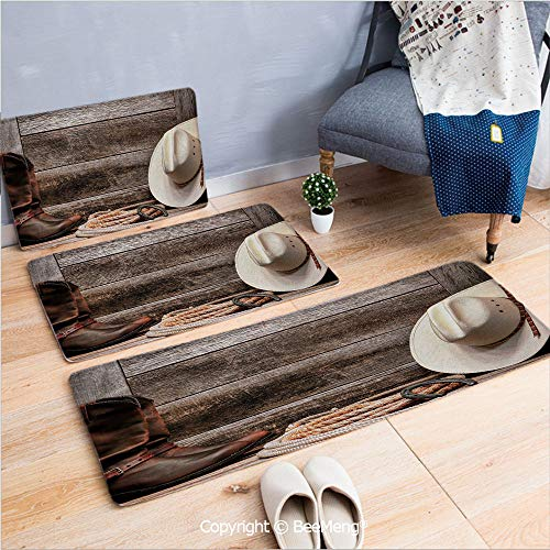 3 Piece Anti-Skid mat for Bathroom Rug Dining Room Home Bedroom,Western,Authentic American Rodeo Items Lasso Hat Boots Horseshoe Rustic Wooden House Decorative,Brown Cream Tan,16x24/18x53/20x59 inch (Horseshoe Bathroom Rug)