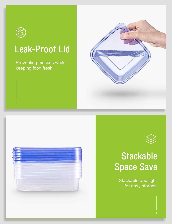 Deik Contenitori Alimentari Impilabile 20 Pezzi Adatto per lavastoviglie Set contenitori per Alimenti plastica Senza BPA Microonde Congelatore