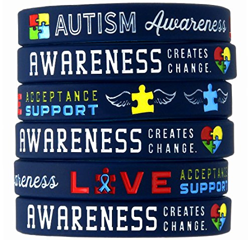 (12-Pack) Autism Awareness Bracelets - Wholesale Bulk Pack of 1 Dozen Silicone Wristbands in Adult Unisex Size