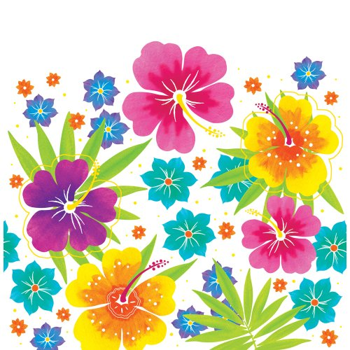 Creative Converting Printed Plastic Table Cover, 54 by 108-Inch, Luau Floral Delight