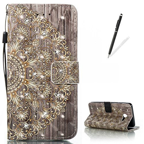 KaseHom Samsung J5 (2017) Leather Case + [Free Black Stylus Pen],Golden Flower Painted Pattern Shiny Glitter Diamond Flip Magnetic Wallet Holster with [Card Slots] Shockproof Protective Cover