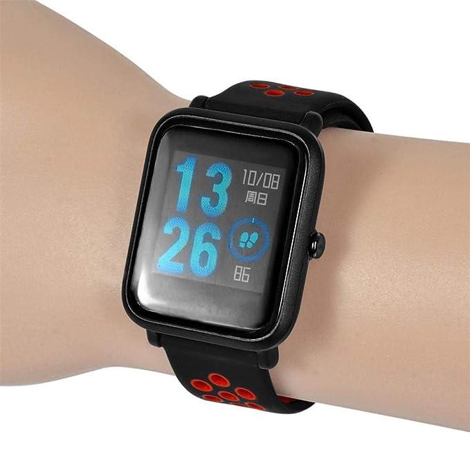 ☀️Modaworld Pulsera Ligera Muñequera Wristband Correa de Reloj Pulsera de Repuesto para Xiaomi Amazfit Bip Youth Watch Banda de Reloj smartwatch (Rojo, ...