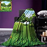 smallbeefly Forest Digital Printing Blanket A Clear Day in the Woods Theme Cartoon Drawing Style Idyllic Summer Summer Quilt Comforter Green Pale Blue Caramel