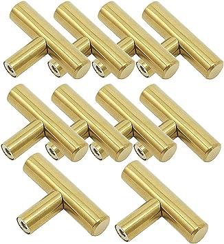 en lat/ón cepillado 15/unidades Tiradores de acero inoxidable en color oro para armarios de cocina en forma de T