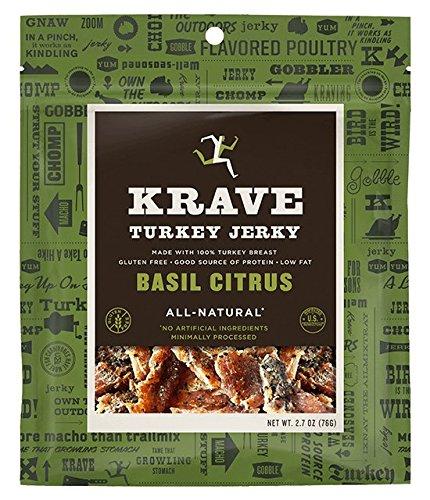 Citrus Basil Flavor - Krave Jerky Basil Citrus Turkey Jerky 2.7 oz Bags - Pack of 4
