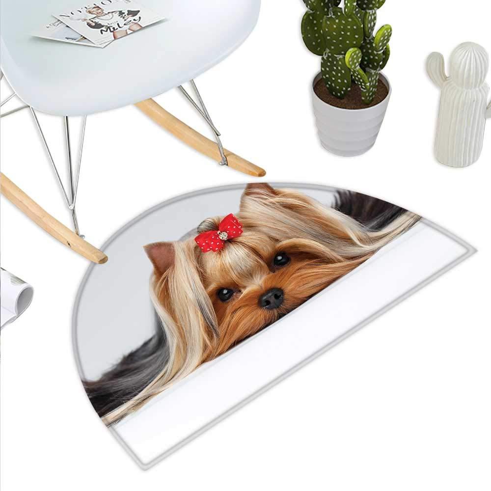 Yorkie ハーフラウンドドアマット ヘッドフォン付き犬 音楽聴覚 ヨークシャーテリア 手描き 洗面所用マット 高さ15.7インチ x 奥行き23.6インチ ライトブルー ホワイト H 39.3