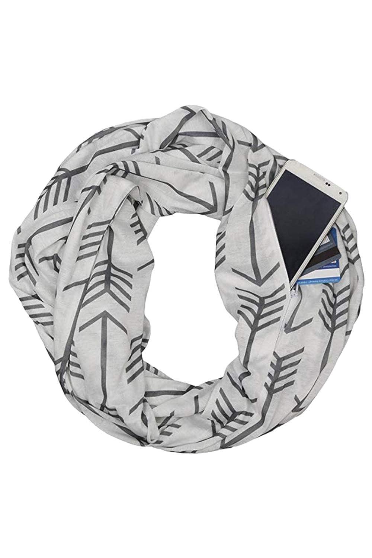 Starall Sciarpa Solid Infinity Loop da Donna con Tasca a Cerniera Nascosta Sciarpe a Scialle a Coppia Calda