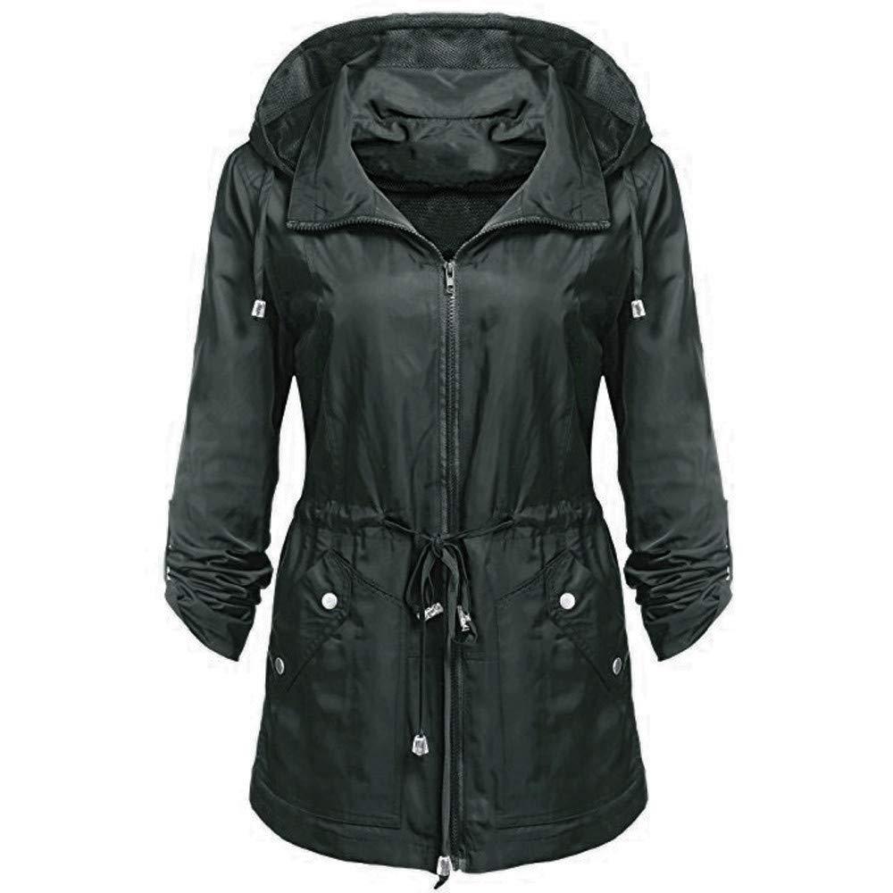 Kemilove Women Waterproof Lightweight Rain Jacket Anorak Detachable Hooded Coat