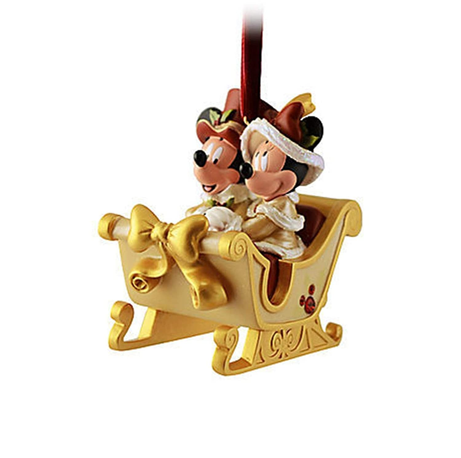 Victorian Minnie and Mickey Mouse Sleigh Christmas Ornament