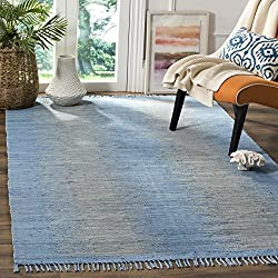 Safavieh Montauk Collection MTK718B Handmade Flatweave Light Blue Cotton Area Rug (5' x 8')