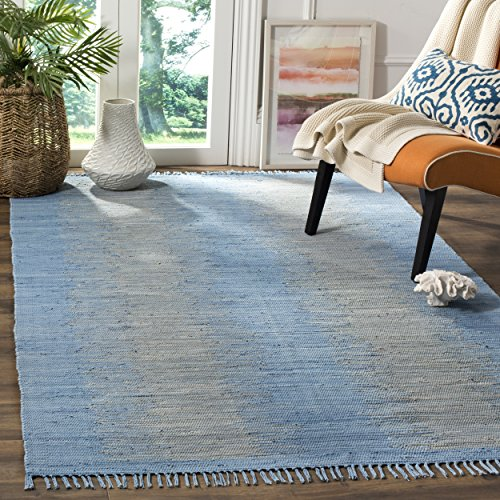 Safavieh Montauk Collection MTK718B Handmade Flatweave Light Blue Cotton Area Rug (5' x - Rug Rag Handmade