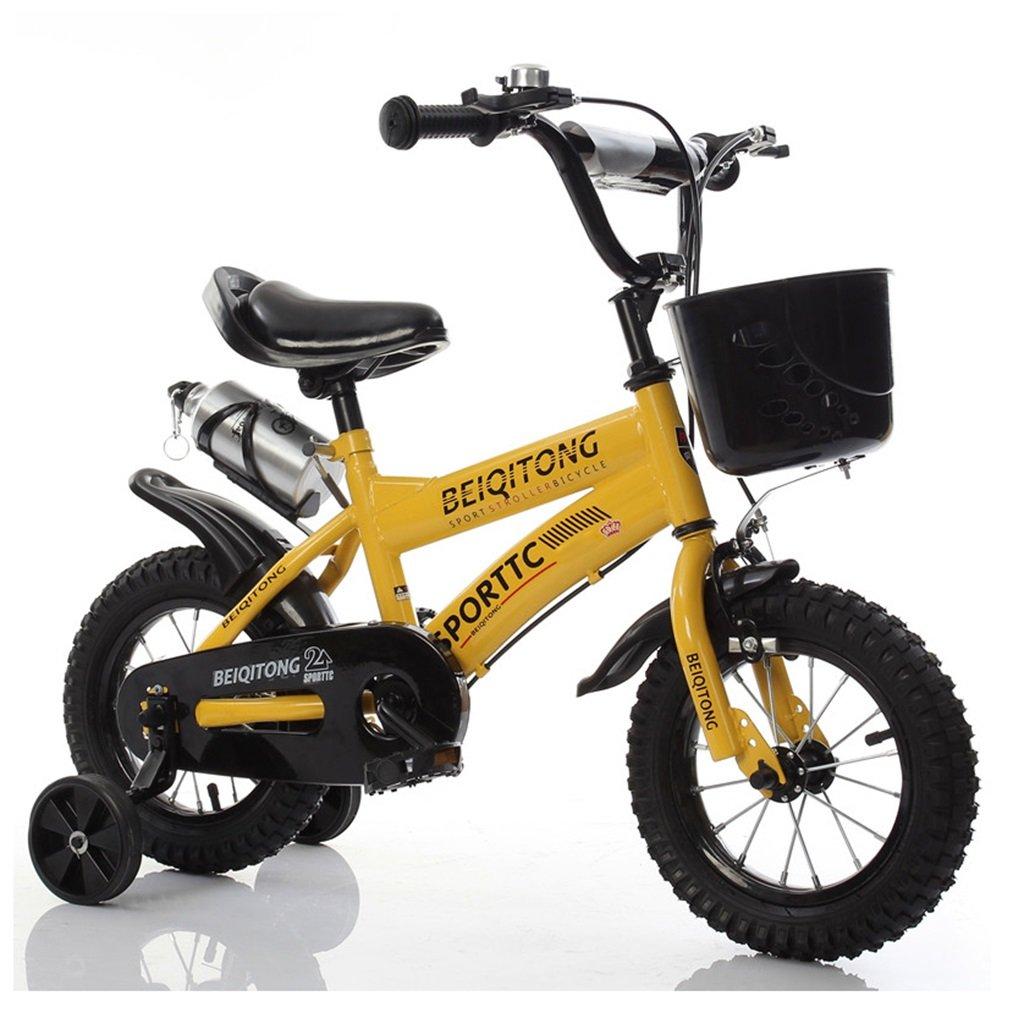 子供の自転車12|14|16|18|20インチ屋外の子供の赤ちゃんキッドマウンテンバイク黒のトレーニングホイールで2歳から11歳の男の子の女の子の贈り物|プラスチックバスケット|ウォーターボトルセーフダンプイエロー B078K3MJ3K 18 inches