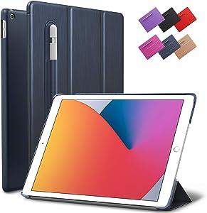 iPad 10.2-inch 2019 2020 Case, ROARTZ Metallic Navy Blue Slim Smart Rubber Folio Hard Light Cover Wake Sleep Pencil Holder for 7th 8th Generation Latest Model A2197 A2198 A2200 A2270 A2428 A2429 A2430