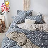 Cotton Grey Star Duvet Cover Set Queen Modern Soft Cotton Full Bedding Set Hotel Quality Kids Boys Comforter Cover Set for Teens Men Luxury 3 Piece Cotton Bedding Collection Full Queen