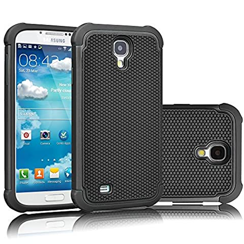 Galaxy S4 Case, Tekcoo(TM) [Tmajor Series] [Black/Black] Shock Absorbing Hybrid Rubber Plastic Impact Defender Rugged Slim Hard Case Cover Shell For Samsung Galaxy S4 S IV I9500 GS4 All (Cell Phone Cases Galaxy S 4 Mini)