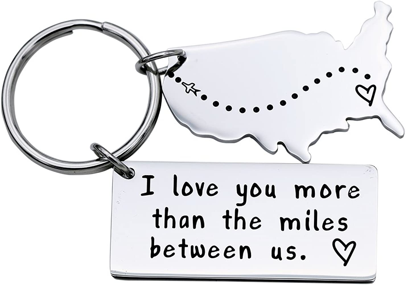 I Love You More Than The Miles Between Us Long Distance Relationship Gift  Boyfriend Gift Girlfriend Gift Going Away Gift State Keychain