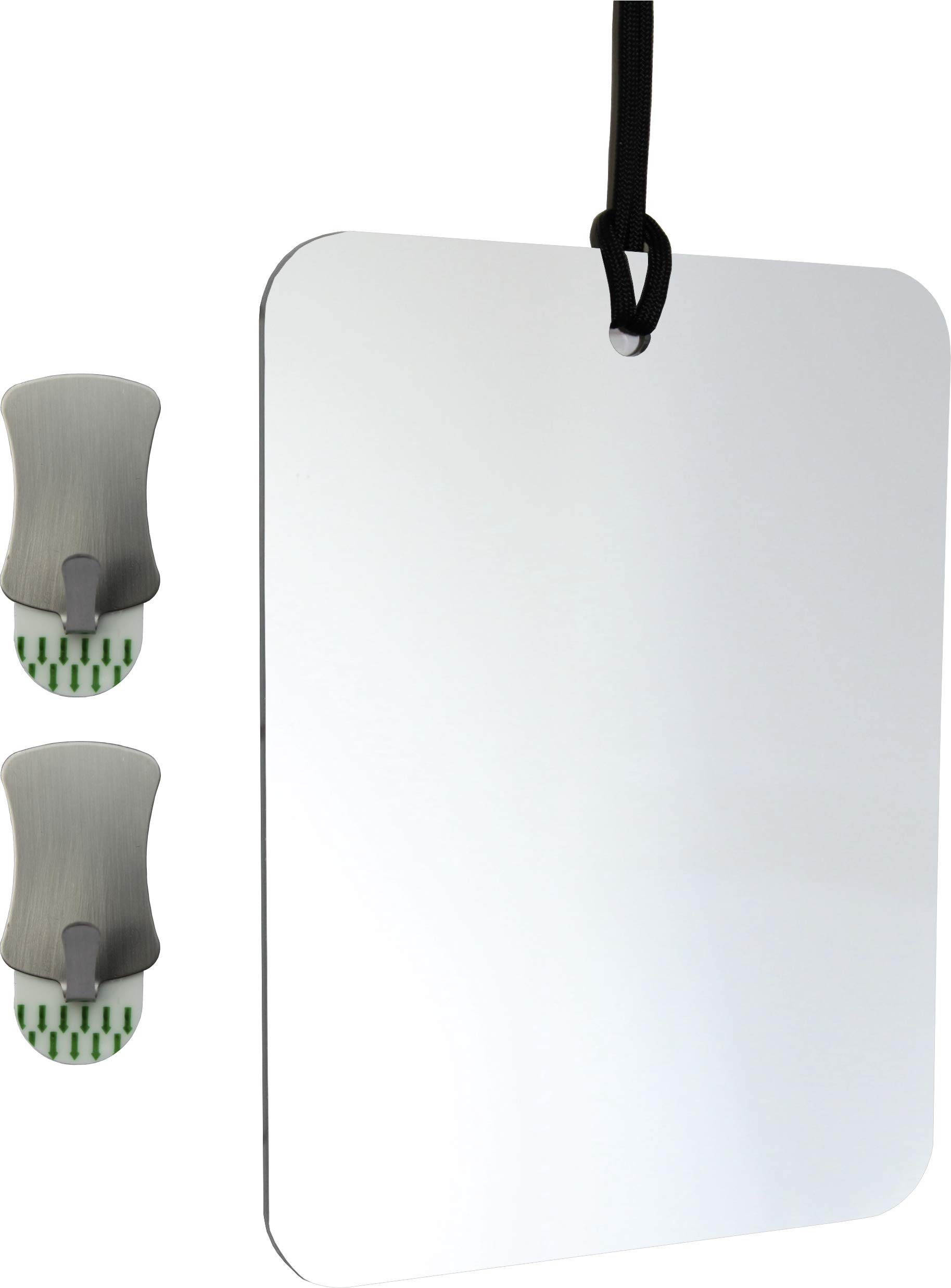ReflectXL Shower Mirror - Use Shower Water Heat, Not Short Lived Coatings, to Repel Fog For 100% Reliability - Shatterproof - Easily Eliminate Fog and Shadows for a Clear Fogless Reflection (Unclad) by Mirror On A Rope