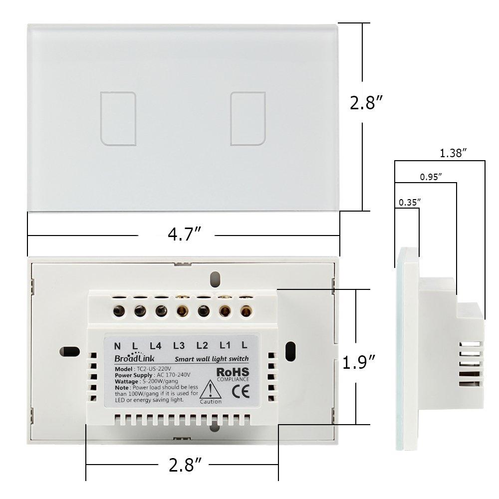 Smart Wall light Switch, Broadlink 220V 2 Gang Touch Panel Wi-fi ...