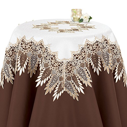 Collections Etc Elegant Vintage Look Embroidered Lace Design Table Topper Linens, Square
