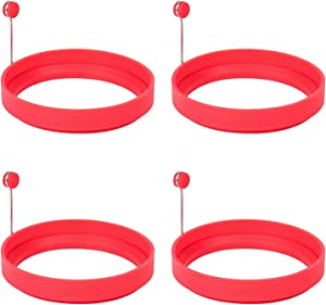 Emoly Silicone Egg Ring, 100% Food Grade Egg Cooking Rings, Egg Rings Non Stick, Egg Cooking Rings, Perfect Fried Egg Mold or Pancake Rings (New, 4pcs, Red)