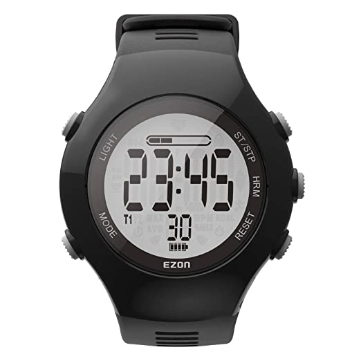 3b8a1aabc Amazon.com: EZON Optical Heart Rate Monitor Waterproof Digital Sport Watch  with Pedometer Calories Counter Stopwatch T043: Sports & Outdoors