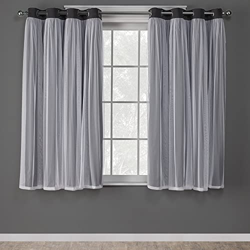 Exclusive Home Curtains Catarina Layered Solid Blackout and Sheer Window Curtain Panel Pair