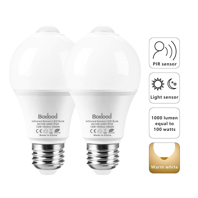 12W PIR Motion Sensor Light Bulb, Security LED Bulb Built-in Motion Detector, Dusk to dawnE26/120V/3000K/100W Equivalent for Indoor Garage Front Door Basement Balcony Hallway by Boxlood(2Pack)