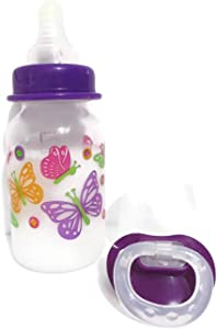 Reborn Doll Bottle 5oz Fake Milk Pretty Cute Girl Designs Vary + Pacifier with Putty Kit + Instructions + This is A Prop - NOT A Toy- OOAK